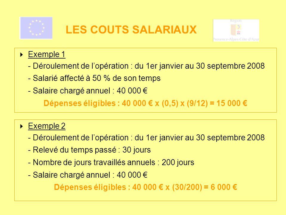 LES COUTS SALARIAUX Exemple 2 - Déroulement de lopération : du 1er janvier au 30 septembre 2008 - Relevé du temps passé : 30 jours - Nombre de jours t