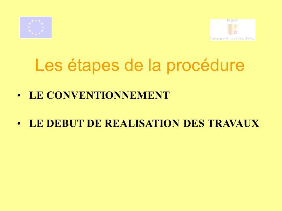 LE DEBUT DE REALISATION DES TRAVAUX Les étapes de la procédure LE CONVENTIONNEMENT