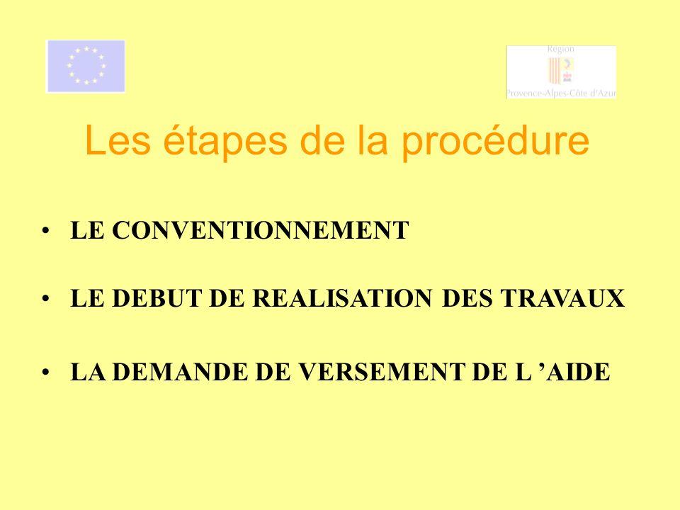 LE DEBUT DE REALISATION DES TRAVAUX Les étapes de la procédure LE CONVENTIONNEMENT LA DEMANDE DE VERSEMENT DE L AIDE