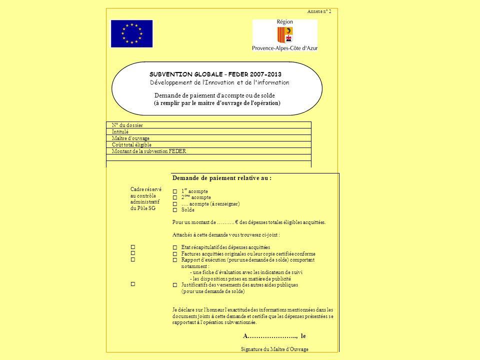 SUBVENTION GLOBALE Développement de linnovation et de l information Tableau récapitulatif des cofinancements publics autres que la subvention Feder