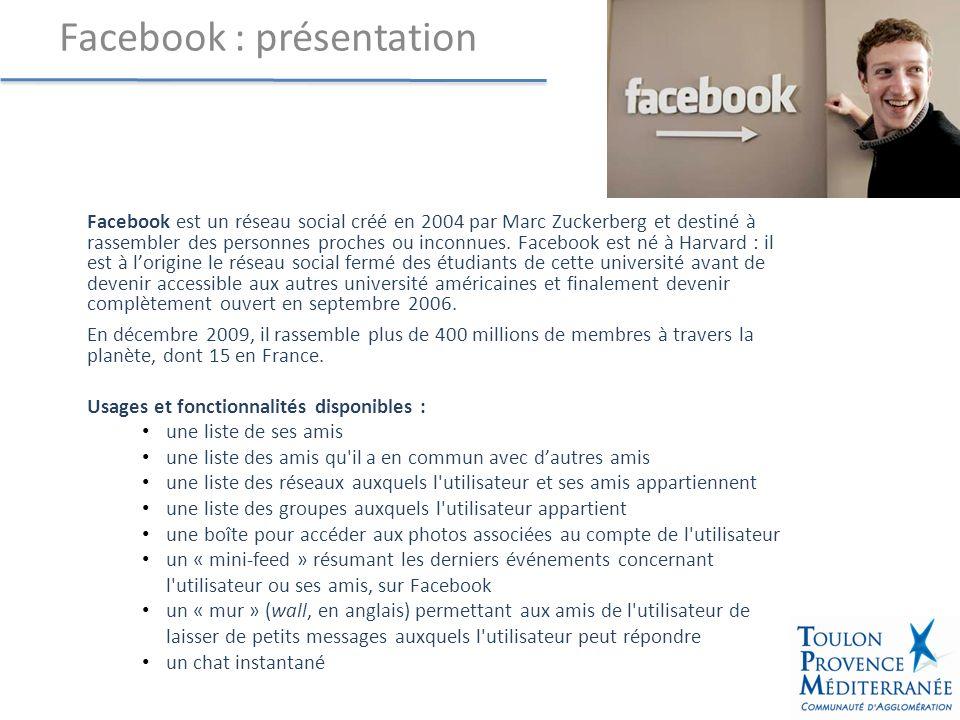 Facebook est un réseau social créé en 2004 par Marc Zuckerberg et destiné à rassembler des personnes proches ou inconnues.