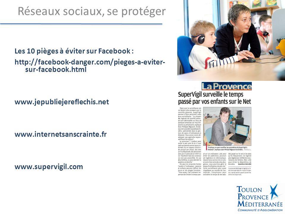 Les 10 pièges à éviter sur Facebook : http://facebook-danger.com/pieges-a-eviter- sur-facebook.html www.jepubliejereflechis.net www.internetsanscrainte.fr www.supervigil.com Réseaux sociaux, se protéger