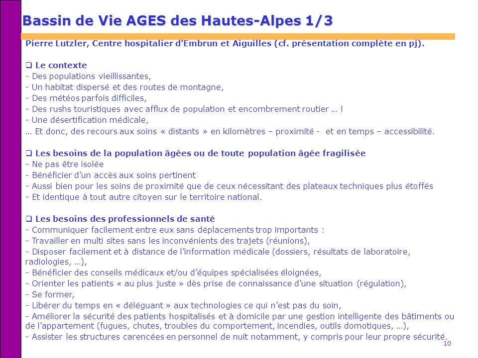 10 Bassin de Vie AGES des Hautes-Alpes 1/3 Pierre Lutzler, Centre hospitalier dEmbrun et Aiguilles (cf. présentation complète en pj). Le contexte - De