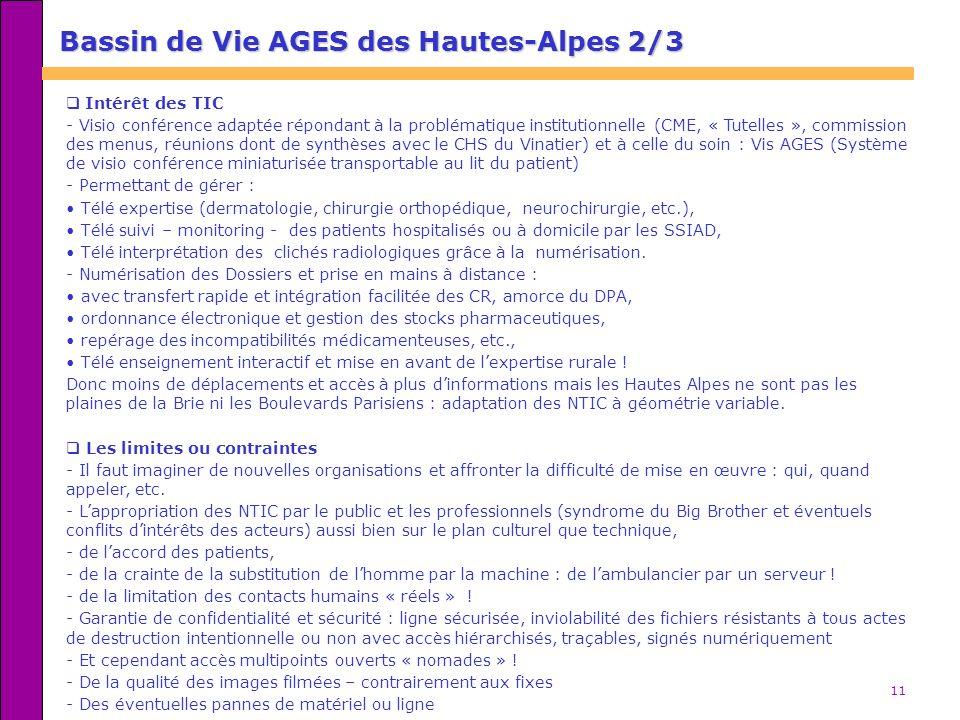 11 Bassin de Vie AGES des Hautes-Alpes 2/3 Intérêt des TIC - Visio conférence adaptée répondant à la problématique institutionnelle (CME, « Tutelles »