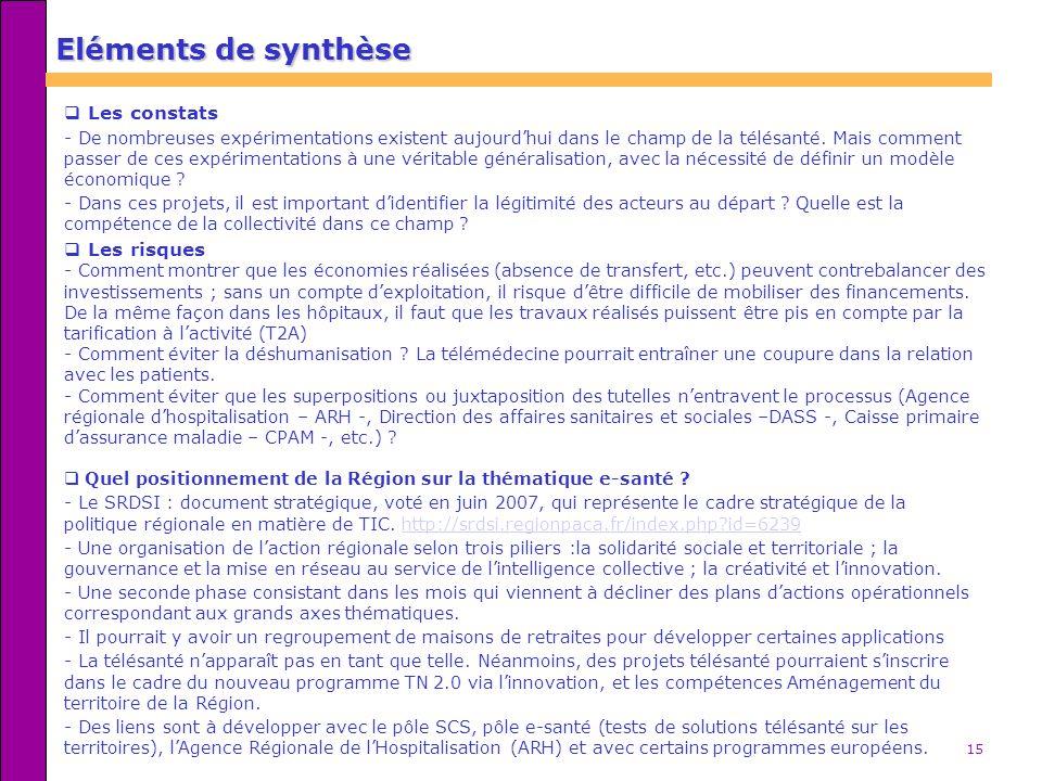 15 Eléments de synthèse Les constats - De nombreuses expérimentations existent aujourdhui dans le champ de la télésanté. Mais comment passer de ces ex