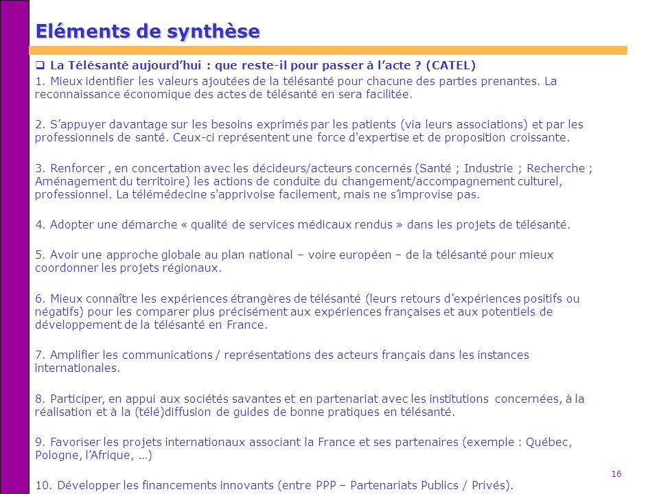 16 Eléments de synthèse La Télésanté aujourdhui : que reste-il pour passer à lacte ? (CATEL) 1. Mieux identifier les valeurs ajoutées de la télésanté