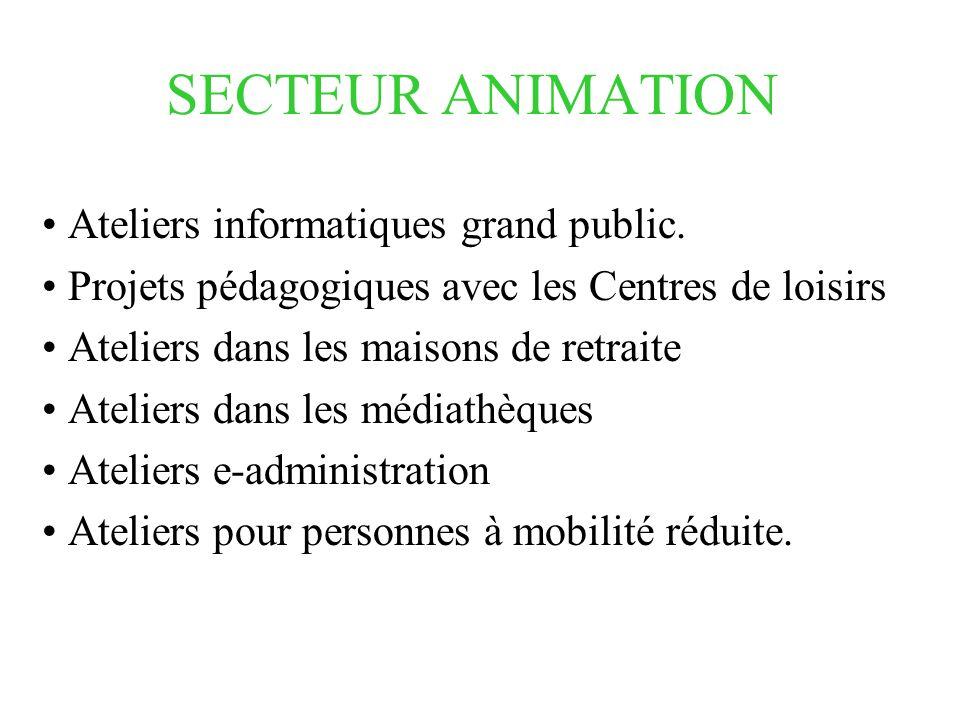 SECTEUR ANIMATION Ateliers informatiques grand public.