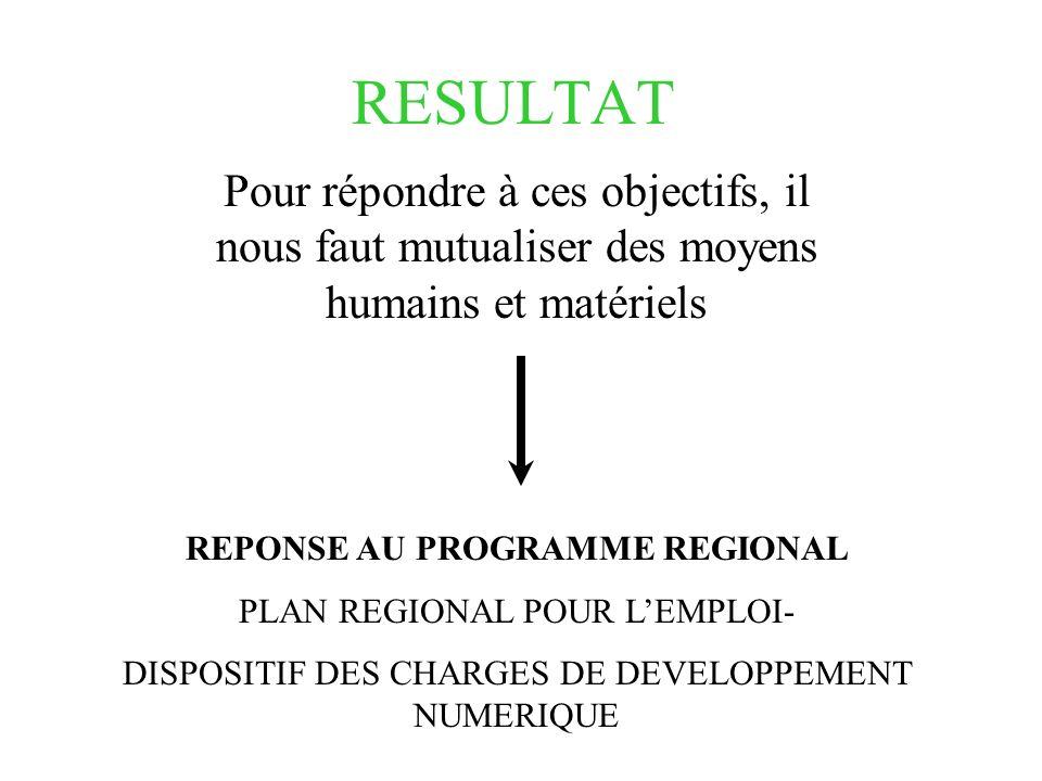 RESULTAT Pour répondre à ces objectifs, il nous faut mutualiser des moyens humains et matériels REPONSE AU PROGRAMME REGIONAL PLAN REGIONAL POUR LEMPL