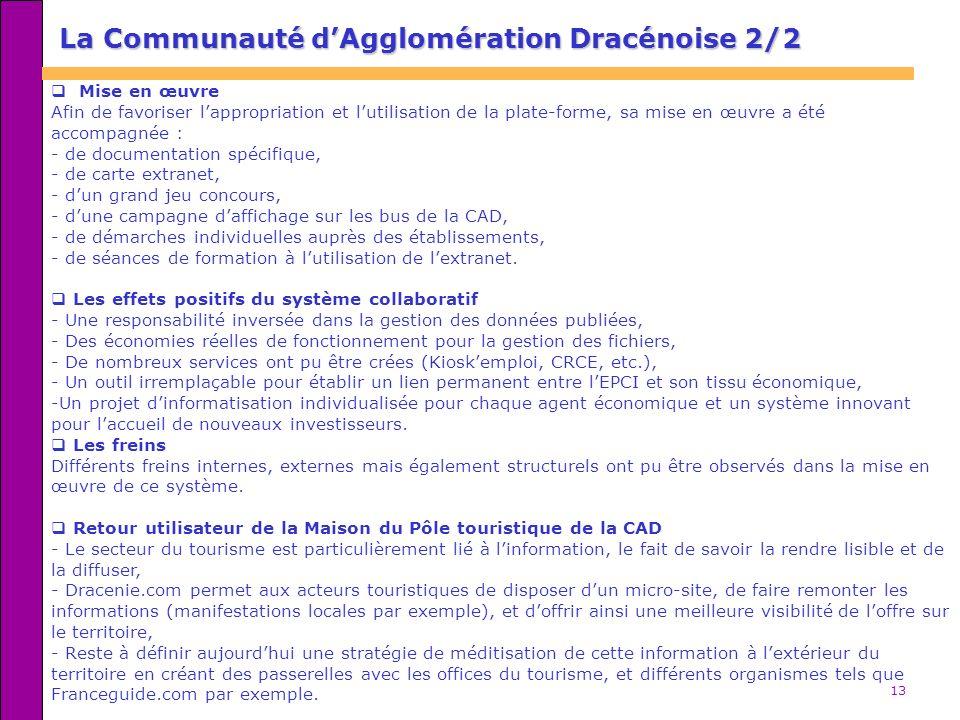 13 La Communauté dAgglomération Dracénoise 2/2 Mise en œuvre Afin de favoriser lappropriation et lutilisation de la plate-forme, sa mise en œuvre a été accompagnée : - de documentation spécifique, - de carte extranet, - dun grand jeu concours, - dune campagne daffichage sur les bus de la CAD, - de démarches individuelles auprès des établissements, - de séances de formation à lutilisation de lextranet.