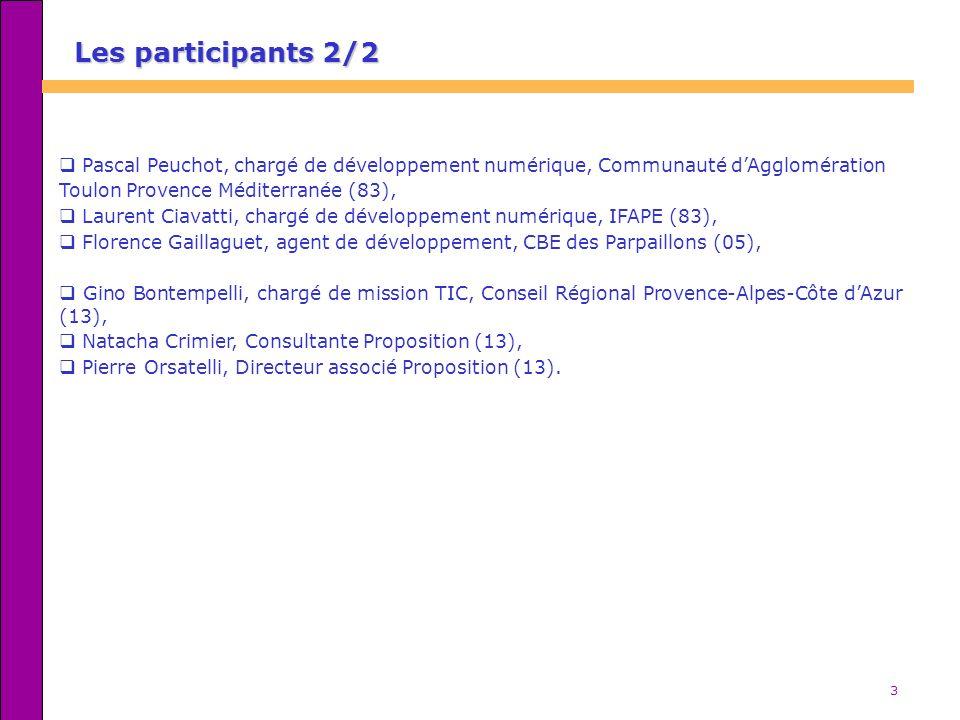3 Les participants 2/2 Pascal Peuchot, chargé de développement numérique, Communauté dAgglomération Toulon Provence Méditerranée (83), Laurent Ciavatti, chargé de développement numérique, IFAPE (83), Florence Gaillaguet, agent de développement, CBE des Parpaillons (05), Gino Bontempelli, chargé de mission TIC, Conseil Régional Provence-Alpes-Côte dAzur (13), Natacha Crimier, Consultante Proposition (13), Pierre Orsatelli, Directeur associé Proposition (13).