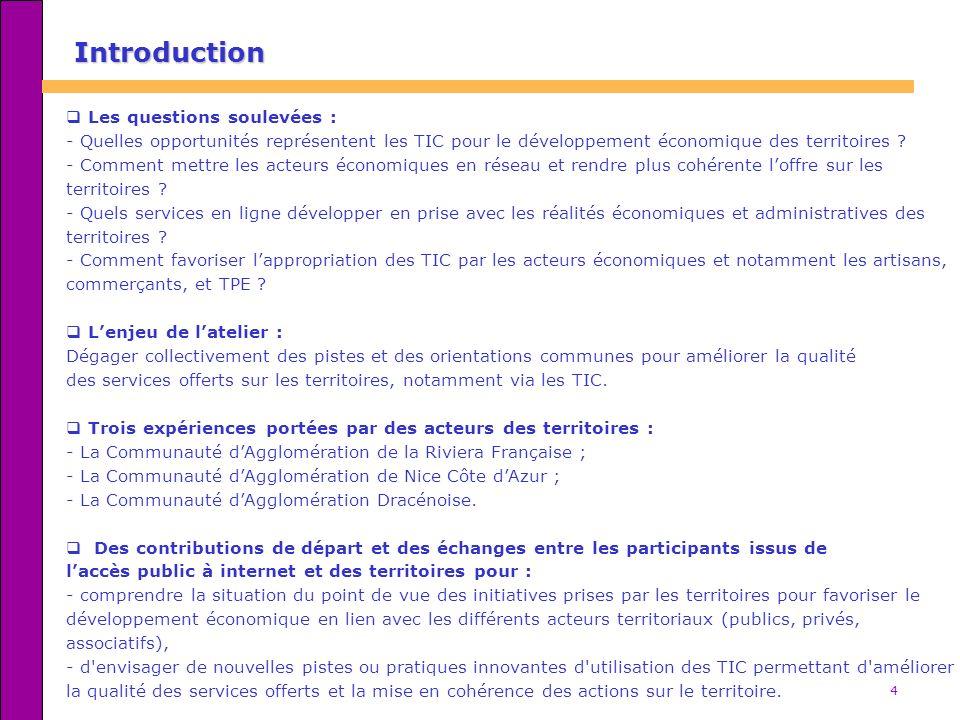 15 Eléments de synthèse 2/2 Quelques ressources sur le thème TIC et développement économique - « Technologies de lInformation et développement économique : du diagnostic territorial au plan dactions », étude thématique réalisée dans le cadre du projet IRIS, Observatoire des Territoires Numériques : http://www.oten.fr/spip.php?article3427http://www.oten.fr/spip.php?article3427 - Le Passeport pour lEconomie Numérique : http://www.econumerique.pme.gouv.frhttp://www.econumerique.pme.gouv.fr - Projets déposés par les Espaces Régionaux Internet Citoyen dans le cadre du Fonds de Soutien aux Initiatives Innovantes (cf.