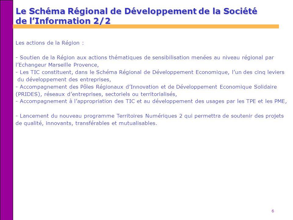6 Les actions de la Région : - Soutien de la Région aux actions thématiques de sensibilisation menées au niveau régional par lEchangeur Marseille Provence, - Les TIC constituent, dans le Schéma Régional de Développement Economique, lun des cinq leviers du développement des entreprises, - Accompagnement des Pôles Régionaux dInnovation et de Développement Economique Solidaire (PRIDES), réseaux dentreprises, sectoriels ou territorialisés, - Accompagnement à lappropriation des TIC et au développement des usages par les TPE et les PME, - Lancement du nouveau programme Territoires Numériques 2 qui permettra de soutenir des projets de qualité, innovants, transférables et mutualisables.