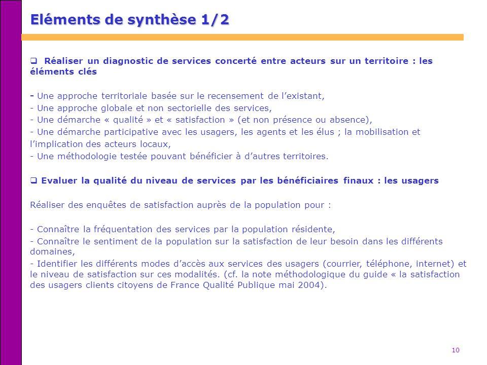10 Eléments de synthèse 1/2 Réaliser un diagnostic de services concerté entre acteurs sur un territoire : les éléments clés - Une approche territorial