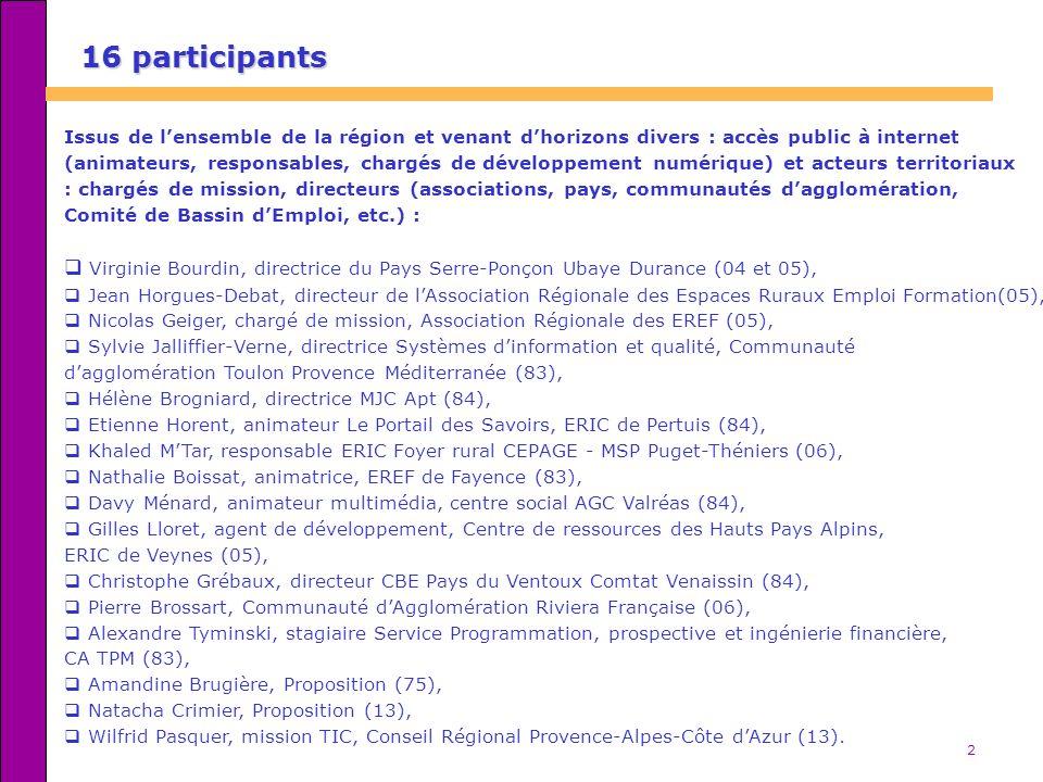 2 16 participants Issus de lensemble de la région et venant dhorizons divers : accès public à internet (animateurs, responsables, chargés de développe