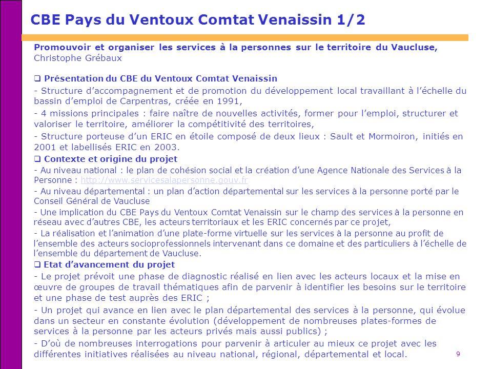 9 CBE Pays du Ventoux Comtat Venaissin 1/2 Promouvoir et organiser les services à la personnes sur le territoire du Vaucluse, Christophe Grébaux Prése