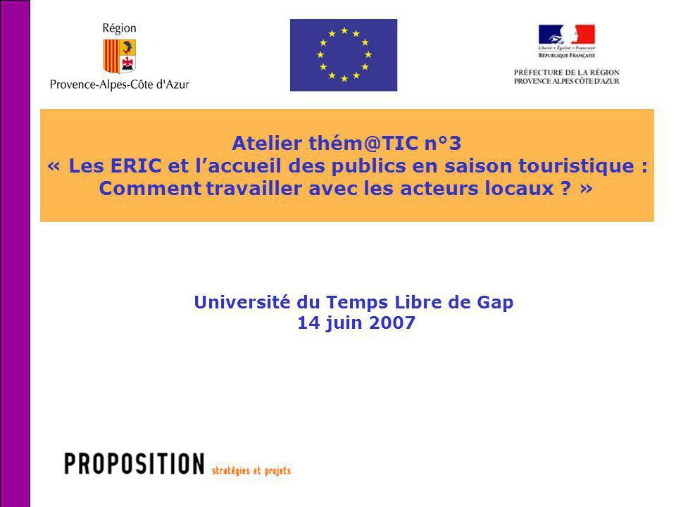1 Atelier thém@TIC n°3 « Les ERIC et laccueil des publics en saison touristique : Comment travailler avec les acteurs locaux ? » Université du Temps L