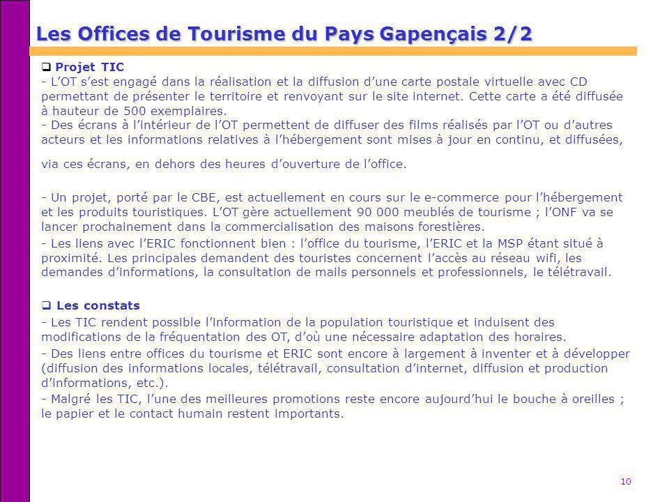 10 Les Offices de Tourisme du Pays Gapençais 2/2 Projet TIC - LOT sest engagé dans la réalisation et la diffusion dune carte postale virtuelle avec CD