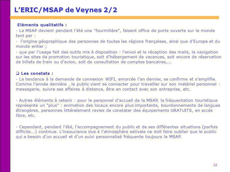 12 Eléments qualitatifs : - La MSAP devient pendant lété une