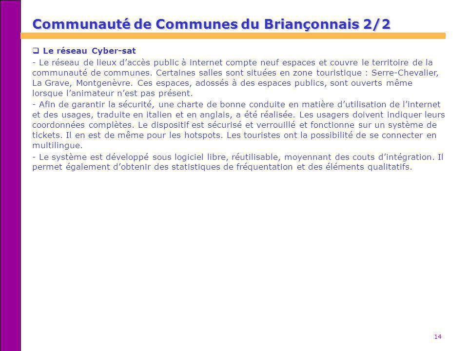 14 Communauté de Communes du Briançonnais 2/2 Communauté de Communes du Briançonnais 2/2 Le réseau Cyber-sat - Le réseau de lieux daccès public à inte