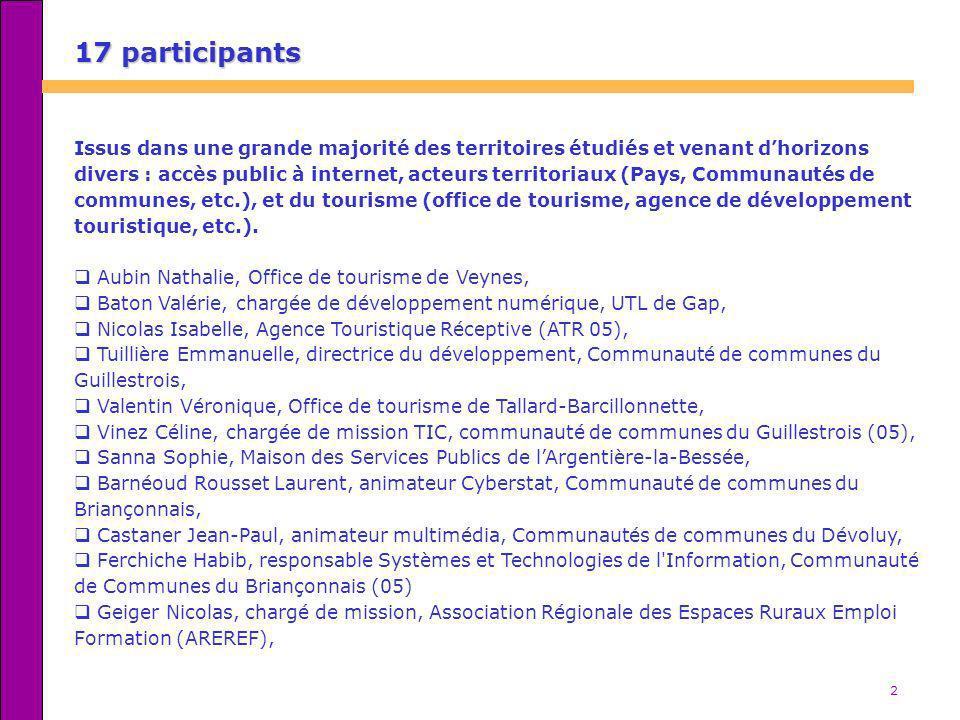 2 17 participants Issus dans une grande majorité des territoires étudiés et venant dhorizons divers : accès public à internet, acteurs territoriaux (P