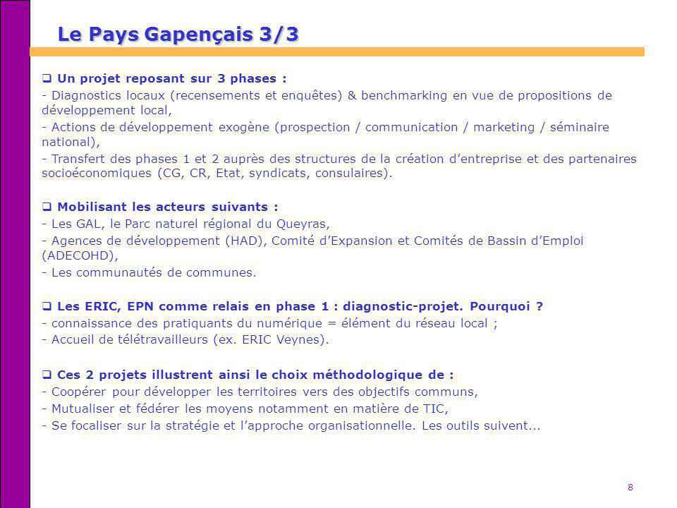 8 Le Pays Gapençais 3/3 Un projet reposant sur 3 phases : - Diagnostics locaux (recensements et enquêtes) & benchmarking en vue de propositions de dév