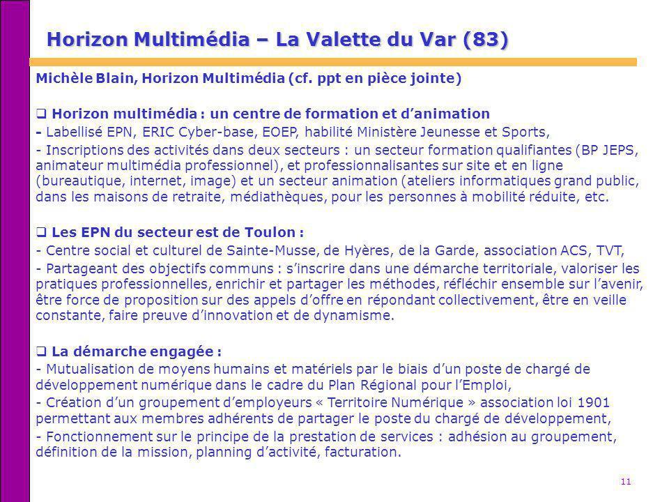 11 Horizon Multimédia – La Valette du Var (83) Michèle Blain, Horizon Multimédia (cf. ppt en pièce jointe) Horizon multimédia : un centre de formation