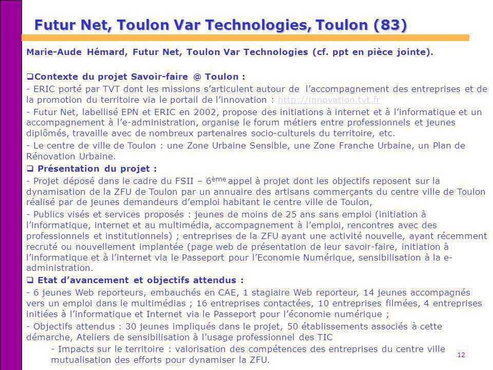 12 Futur Net, Toulon Var Technologies, Toulon (83) Marie-Aude Hémard, Futur Net, Toulon Var Technologies (cf. ppt en pièce jointe). Contexte du projet