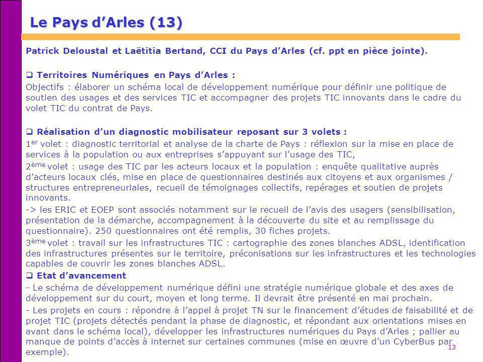 13 Le Pays dArles (13) Patrick Deloustal et Laëtitia Bertand, CCI du Pays dArles (cf. ppt en pièce jointe). Territoires Numériques en Pays dArles : Ob