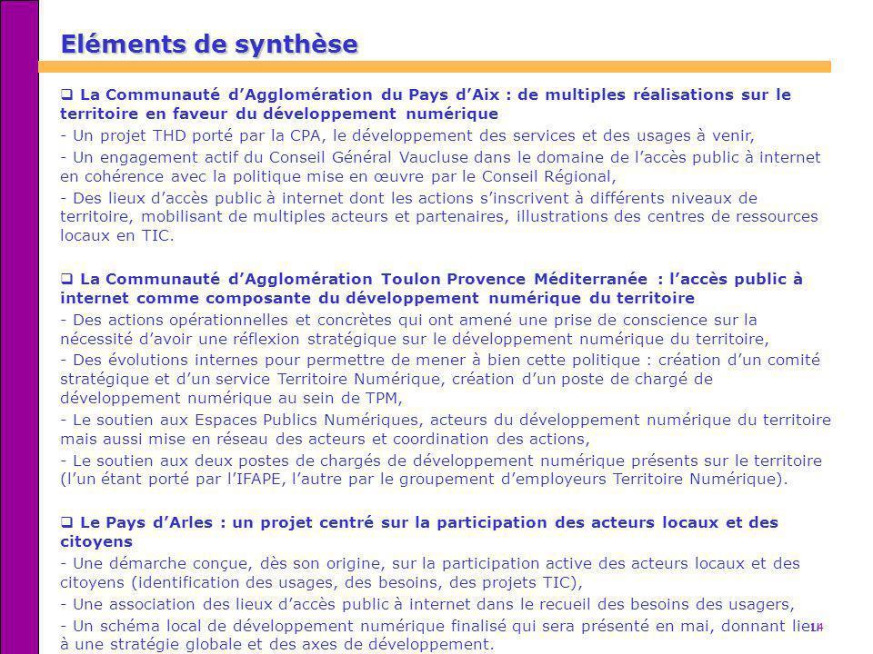14 Eléments de synthèse La Communauté dAgglomération du Pays dAix : de multiples réalisations sur le territoire en faveur du développement numérique -