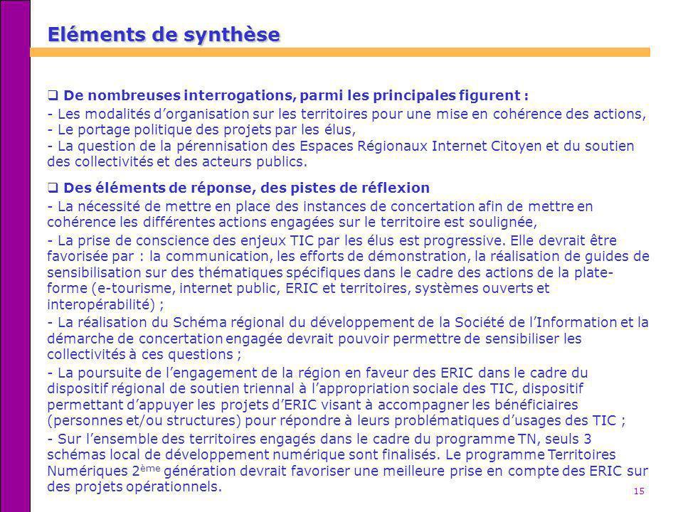 15 Eléments de synthèse De nombreuses interrogations, parmi les principales figurent : - Les modalités dorganisation sur les territoires pour une mise