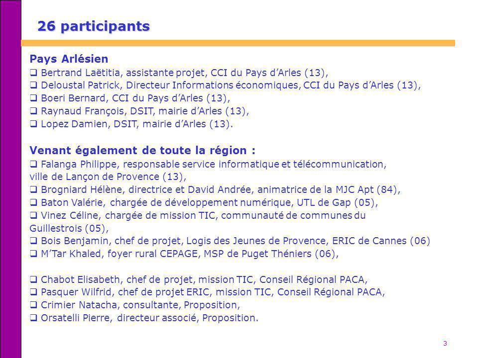 3 26 participants Pays Arlésien Bertrand Laëtitia, assistante projet, CCI du Pays dArles (13), Deloustal Patrick, Directeur Informations économiques,