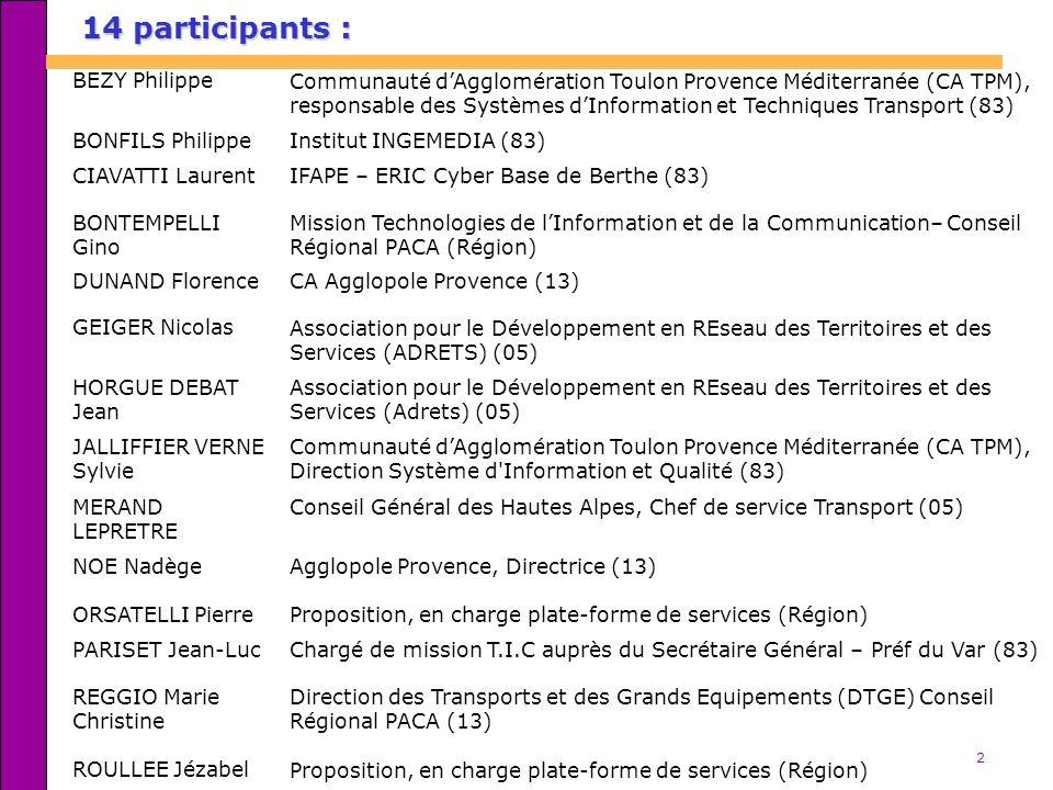 2 14 participants : BEZY PhilippeCommunauté dAgglomération Toulon Provence Méditerranée (CA TPM), responsable des Systèmes dInformation et Techniques