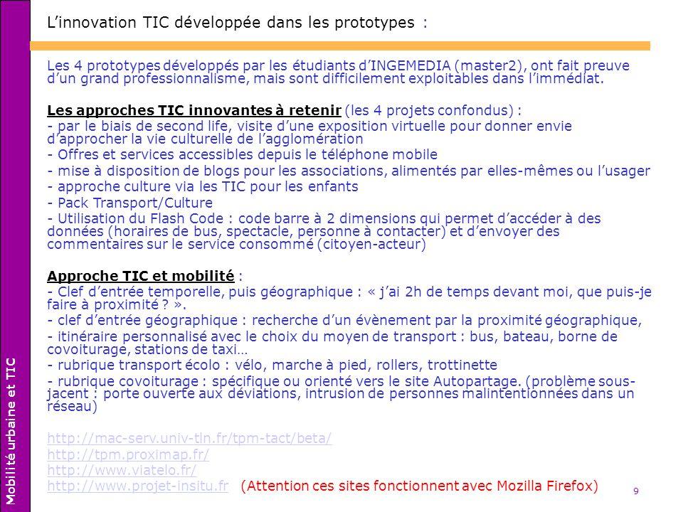 9 Linnovation TIC développée dans les prototypes : Les 4 prototypes développés par les étudiants dINGEMEDIA (master2), ont fait preuve dun grand profe