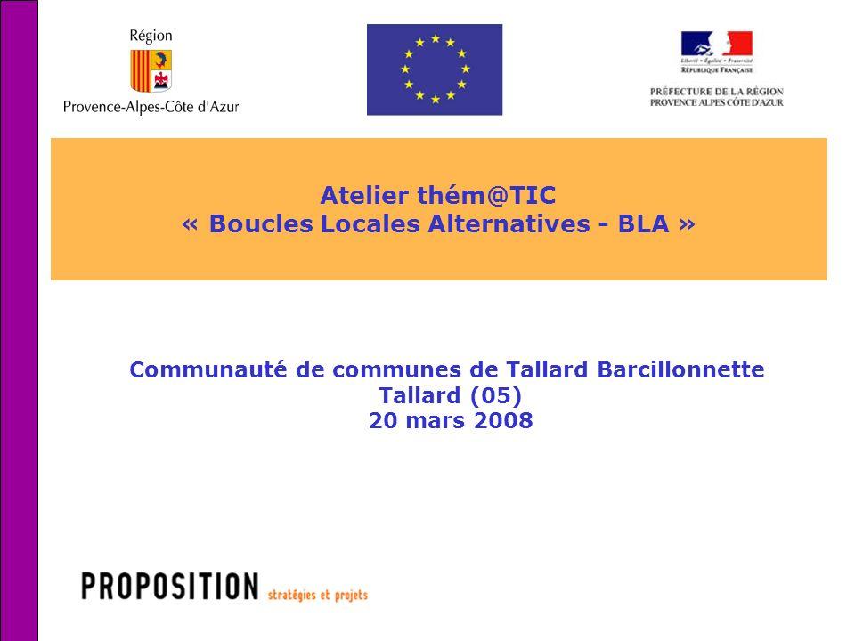 1 Atelier thém@TIC « Boucles Locales Alternatives - BLA » Communauté de communes de Tallard Barcillonnette Tallard (05) 20 mars 2008