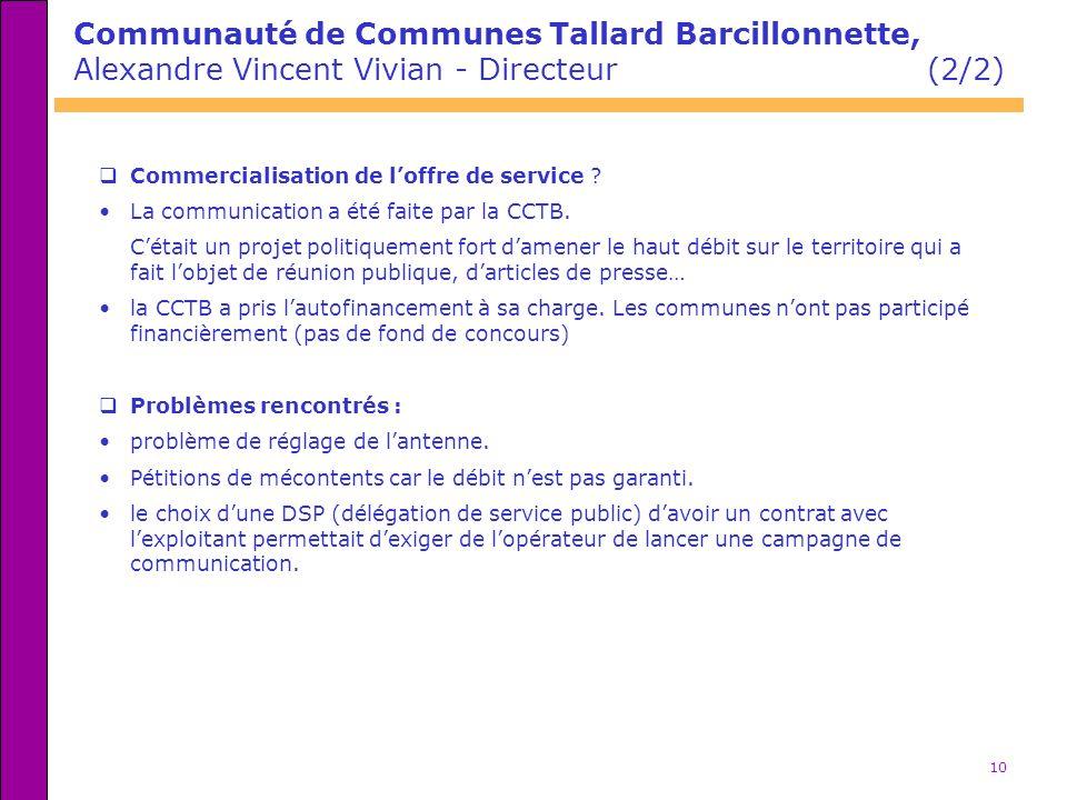 10 Communauté de Communes Tallard Barcillonnette, Alexandre Vincent Vivian - Directeur (2/2) Commercialisation de loffre de service ? La communication