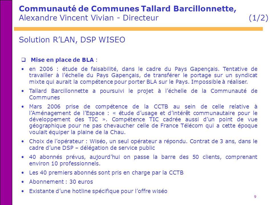 9 Communauté de Communes Tallard Barcillonnette, Alexandre Vincent Vivian - Directeur (1/2) Mise en place de BLA : en 2006 : étude de faisabilité, dan