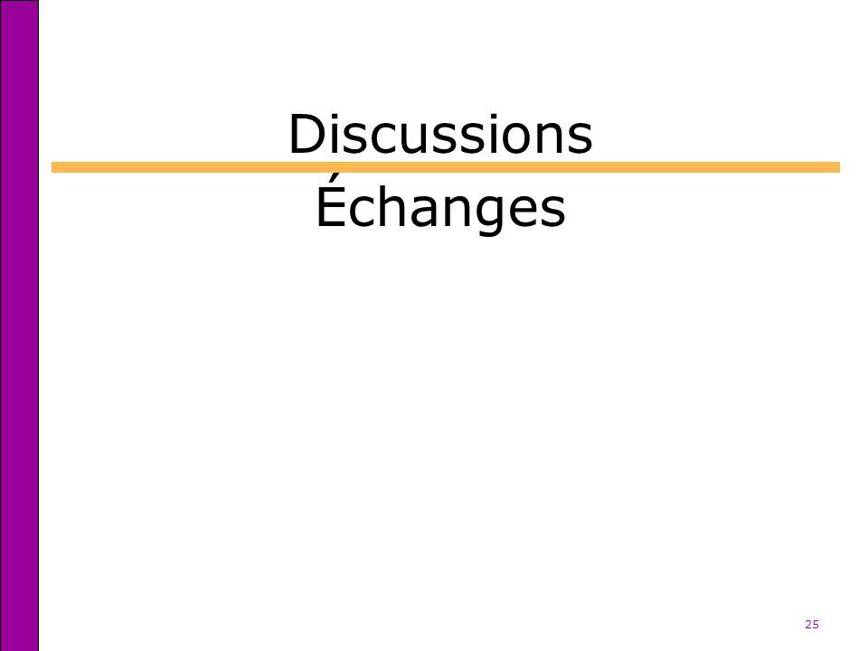 25 Discussions Échanges