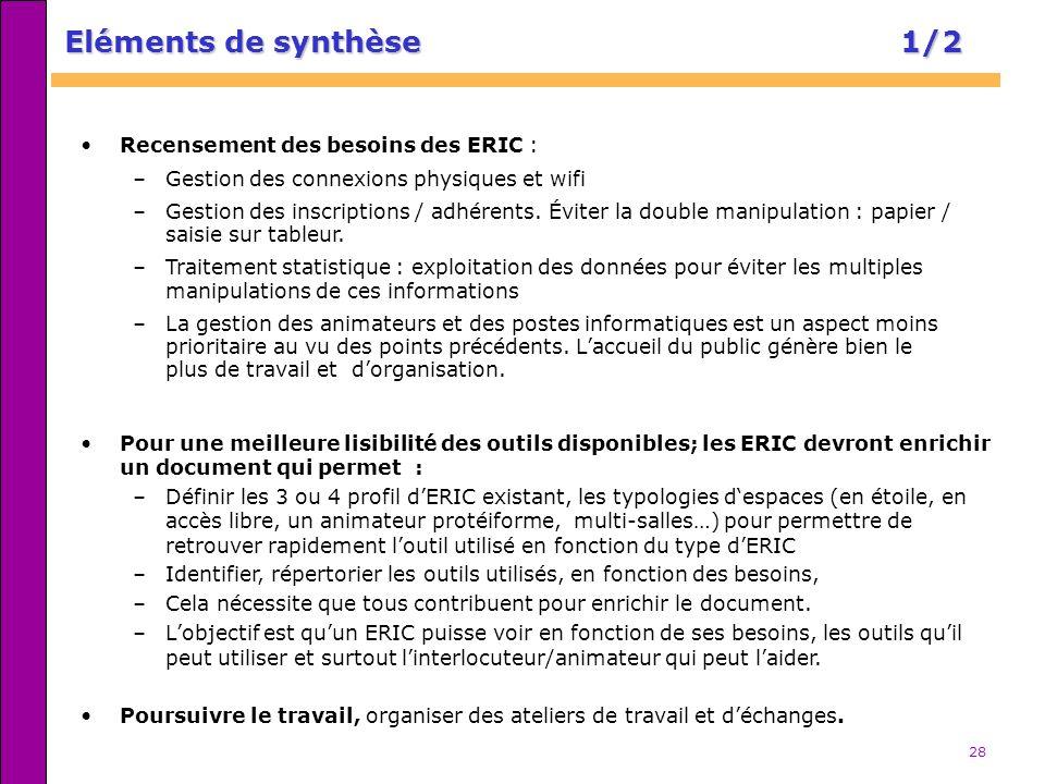 28 Eléments de synthèse 1/2 Pour une meilleure lisibilité des outils disponibles; les ERIC devront enrichir un document qui permet : –Définir les 3 ou