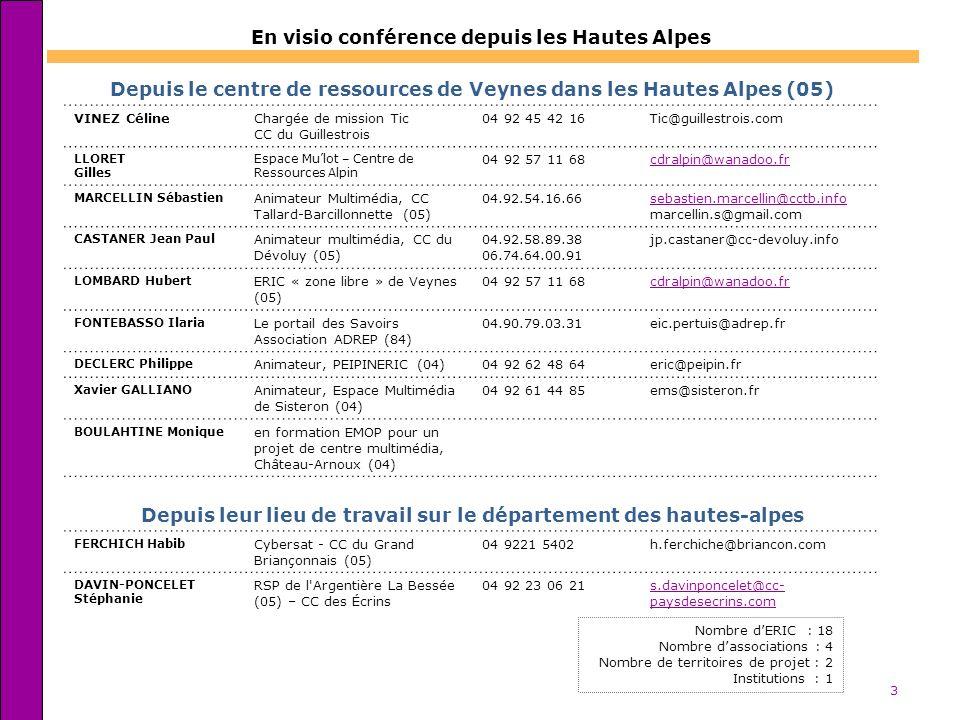 3 En visio conférence depuis les Hautes Alpes Nombre dERIC : 18 Nombre dassociations : 4 Nombre de territoires de projet : 2 Institutions : 1 Depuis l