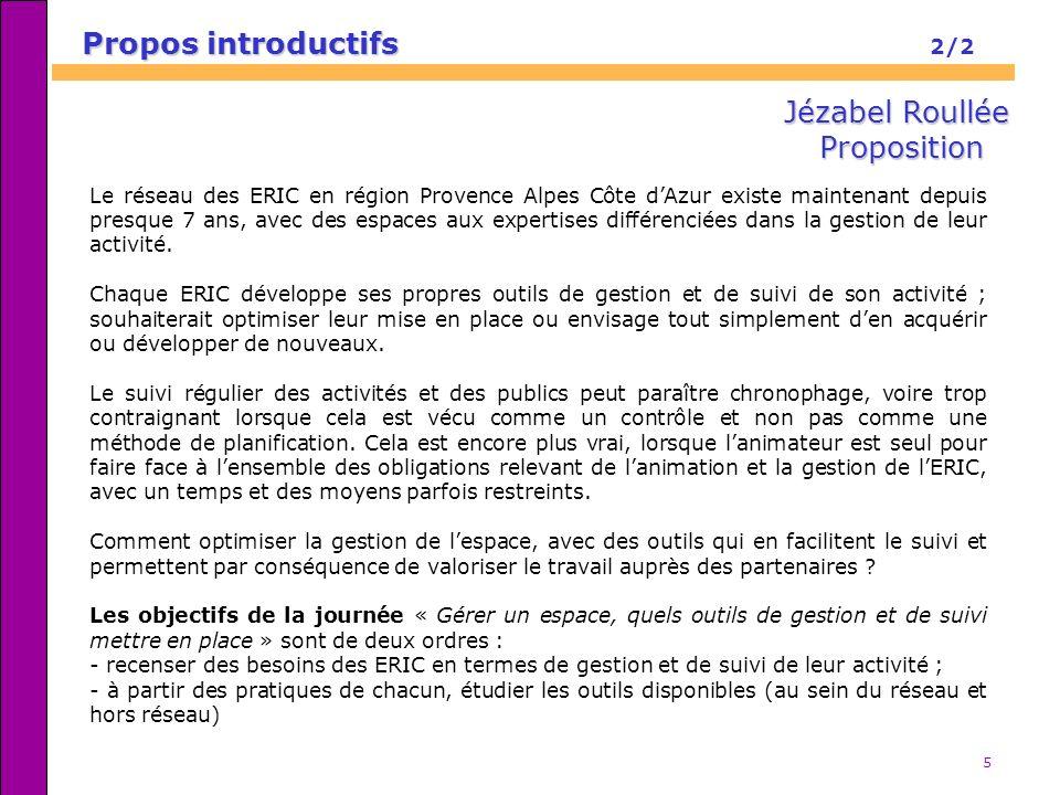 5 Propos introductifs Propos introductifs 2/2 Le réseau des ERIC en région Provence Alpes Côte dAzur existe maintenant depuis presque 7 ans, avec des
