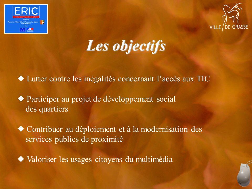 Les objectifs Lutter contre les inégalités concernant laccès aux TIC Participer au projet de développement social des quartiers Contribuer au déploiement et à la modernisation des services publics de proximité Valoriser les usages citoyens du multimédia