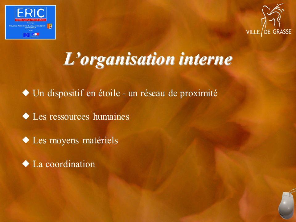 Lorganisation interne Un dispositif en étoile - un réseau de proximité Les ressources humaines Les moyens matériels La coordination