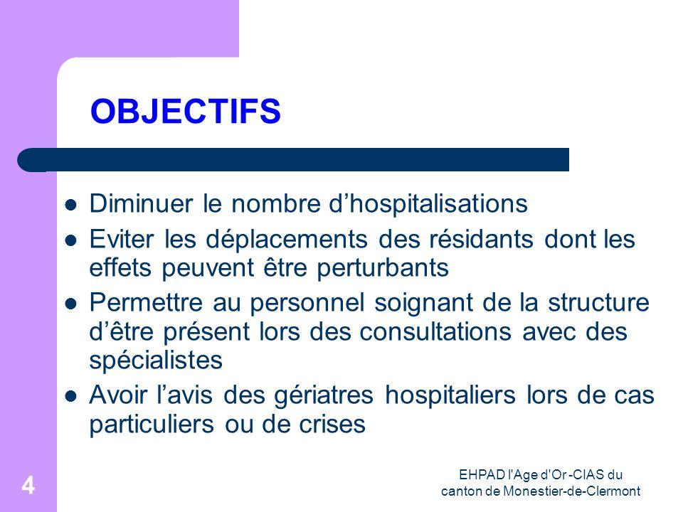 EHPAD l'Age d'Or -CIAS du canton de Monestier-de-Clermont 4 OBJECTIFS Diminuer le nombre dhospitalisations Eviter les déplacements des résidants dont