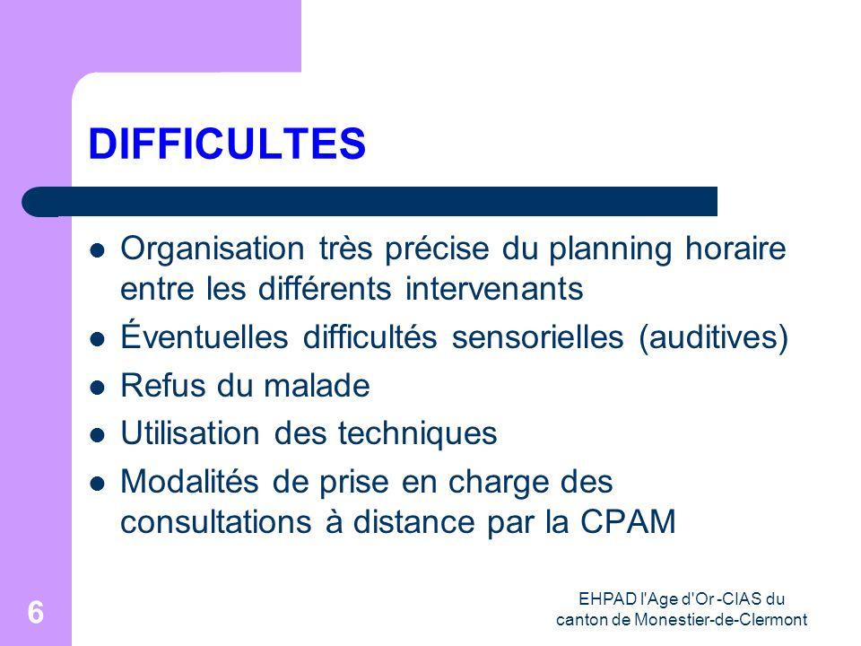 EHPAD l'Age d'Or -CIAS du canton de Monestier-de-Clermont 6 DIFFICULTES Organisation très précise du planning horaire entre les différents intervenant
