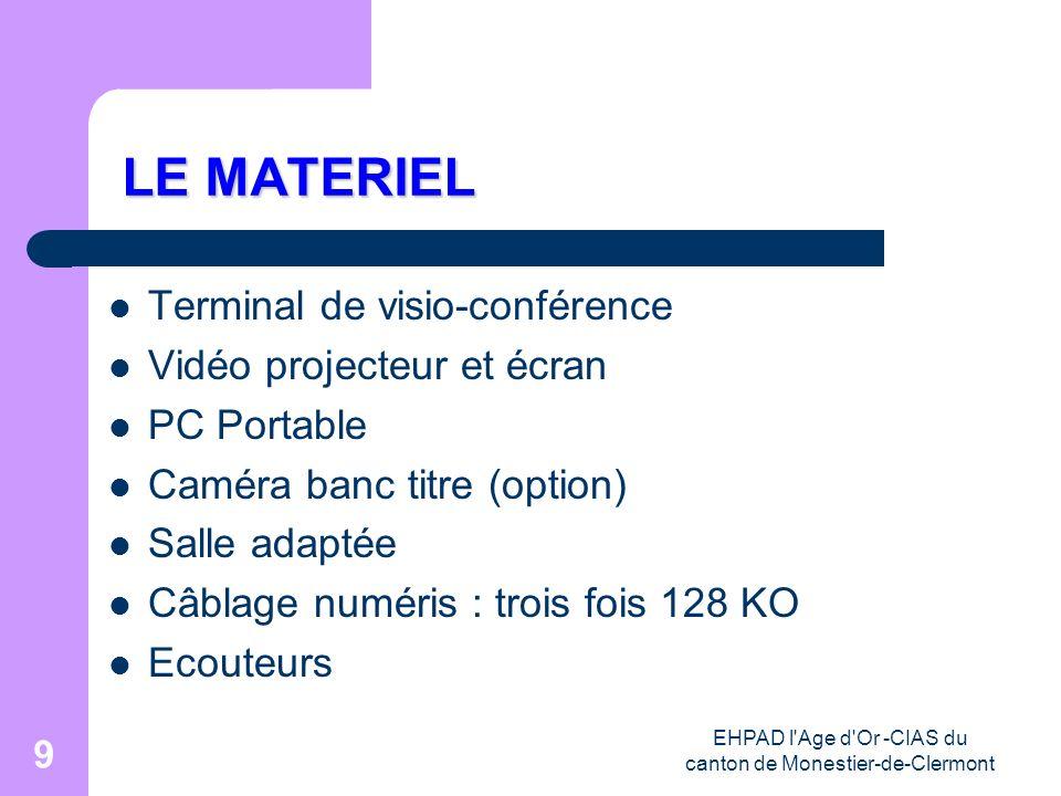 EHPAD l'Age d'Or -CIAS du canton de Monestier-de-Clermont 9 LE MATERIEL LE MATERIEL Terminal de visio-conférence Vidéo projecteur et écran PC Portable