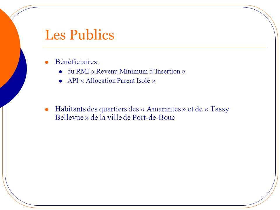 Les Publics Bénéficiaires : du RMI « Revenu Minimum dInsertion » API « Allocation Parent Isolé » Habitants des quartiers des « Amarantes » et de « Tas