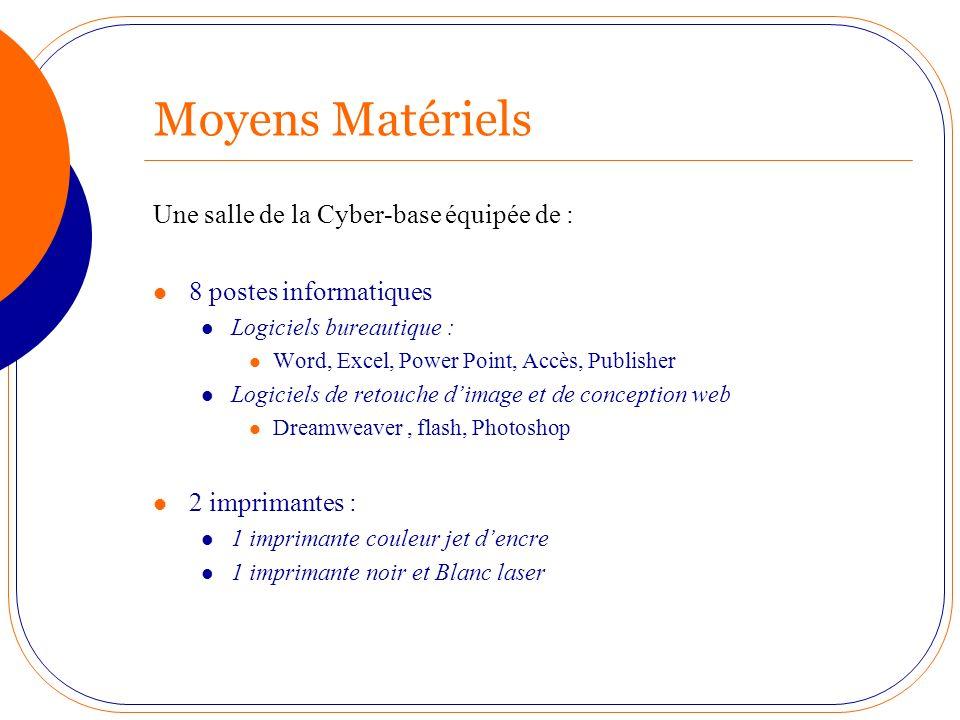 Moyens Matériels Une salle de la Cyber-base équipée de : 8 postes informatiques Logiciels bureautique : Word, Excel, Power Point, Accès, Publisher Log