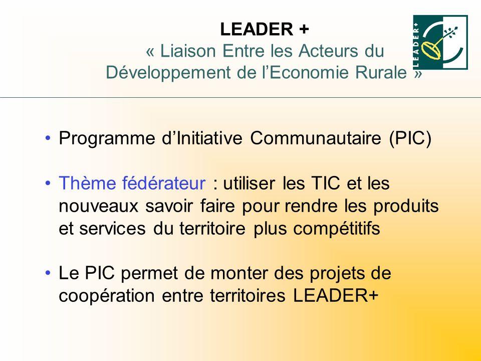 LEADER + « Liaison Entre les Acteurs du Développement de lEconomie Rurale » Programme dInitiative Communautaire (PIC) Thème fédérateur : utiliser les