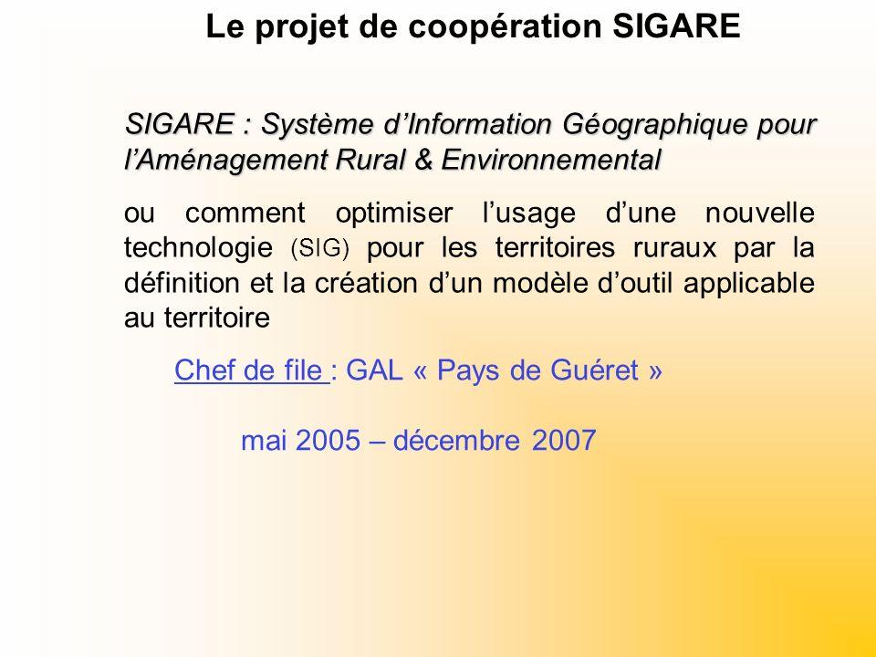 Chef de file : GAL « Pays de Guéret » mai 2005 – décembre 2007 SIGARE : Système dInformation Géographique pour lAménagement Rural & Environnemental ou