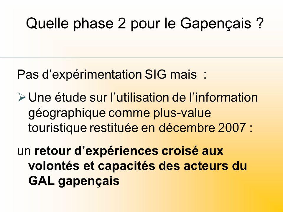 Quelle phase 2 pour le Gapençais ? Pas dexpérimentation SIG mais : Une étude sur lutilisation de linformation géographique comme plus-value touristiqu
